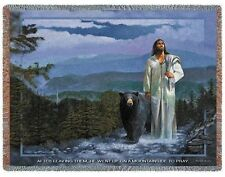 Jesus Walking in the Mountains with Black Bear Throw 3387-T Made in USA