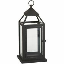 Pier 1 Landen Medium Black Metal Iron Glass Lantern 6x6x15 NIB