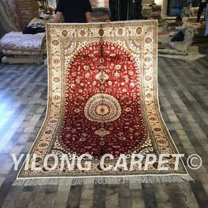 Yilong 5'x8' Handmade Classic  Silk Area Rug Handwork Hand Knotted Carpets W199C