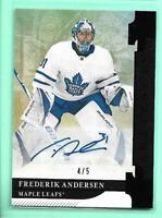 Frederik Andersen 2019-20 Upper Deck Artifacts #4/5 Black Autograph Maple Leafs