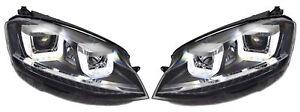 LHD For VW Golf Vii Mk7 12-17 Black U DRL LED Headlights dynamic indicator