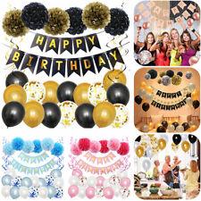 Happy Birthday Luftballons Girlande Banner Pompom Konfetti Geburtstag Party Deko