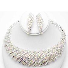 Adjustable AB Rhinestone Evening Necklace W Matching Earrings Set