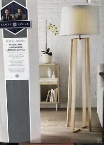 Scott Living Floor Lamp Natural/White finish 3-way switch