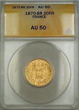 1870-BB France 20 Fr Francs Gold Coin ANACS AU-50