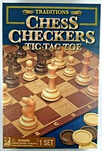 Chess Checkers Tic Tac Toe Traditions Board Games Hours of Fun No WiFi required!