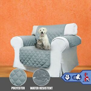 Grey Armchair Throw Cover Seat Quilted 1-Seater Home Decor Pet-Protector