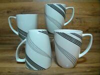 SET OF 4 - CORELLE COORDINATES - URBAN ARC - PORCELAIN 12 OZ COFFEE MUGS