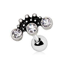 "Stud 16G 1/4"" Steel Piercing Jewelry Ornate Three Cz Cartilage Tragus Bar"