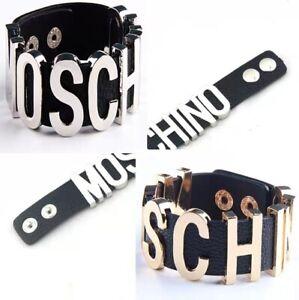 Moschino Wristband Bangle Genuine Leather Bracelet Metal Letter Bracelet Punk