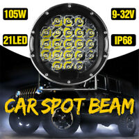 7inch 105W 10500LM LED Round Work Light Spotlignt Offroad Driving Lamp SUV Truck