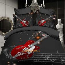 Black Guitar Queen Size Bed Quilt/Doona/Duvet Cover Set Pillow Cases Linen 4Pc