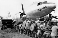 Chinese help American servicemen pull out C-47 plane WW2 photo 4x6 #1513