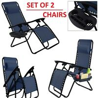 2 Folding Zero Gravity Blue Lounge Chairs Utility Tray Outdoor Beach Patio Seat