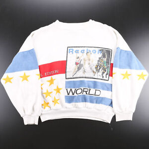 Vintage REEBOK Rare White 80s Crew Neck Sweatshirt Mens M