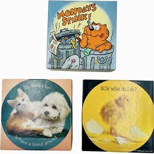 Vintage 1980s Lot 3 Hallmark Springbok Mini Jigsaw Puzzles Heathcliff Duckling