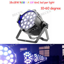 Zoom 10-60 degree 18X18W RGBWA UV 6IN1 LED PAR light for wedding church