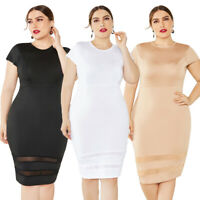 Women Short Sleeve Stretch Bodycon Dress Plus Size Party Mini Dress Prom Gown