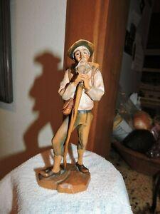 Antique P. Maeder Lucerne Swiss Black Forest Carved Wood Man with basket