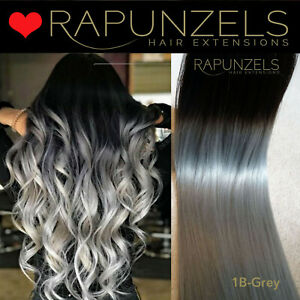 """20"""" Real human grey ombre hair extensions with clips remy black to grey silver"""