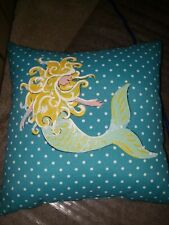 Handpainted Mermaid Pillow turquoise polka dots beach nautical