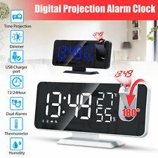Digital Led Display Alarm Clock Fm Radio Projection Usb Charger Snooze 12/24H