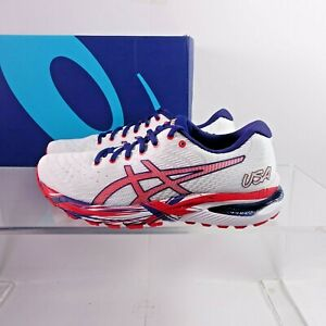 Size 7 Women's ASICS GEL-Cumulus 22 Running Shoes 1012A976-100 White/Red USA