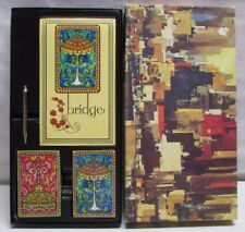 Vintage Stancraft Bridge Boxed Set Tiffany Lamp Design 2 Decks of Playing Cards