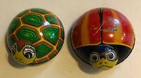 2 Vintage TIN LITHO Friction Toys Signed Japan LADYBUG &TURTLE