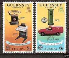 Guernsey # 189-90 Mnh Europa Truck & Telephone