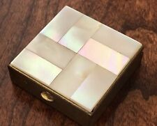 Vintage 2 Section Mother Of Pearl Square Pill Box ~ Beautiful