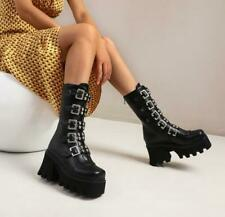 Womens Black Mid-calf Gothic Winter Boots Biker Platform Punk Shoes Black Size 8