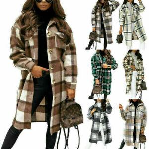 Women Plaid Fleece Shacket Overcoat Lady Casual Baggy Button Long Jacket Coat UK