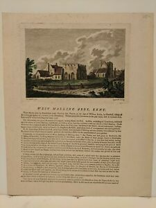 1773 Sparrow: West Malling Abby, Kent - original copperplate, color & text