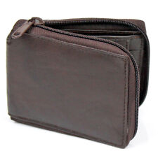 Men's Zipper Genuine Leather Zip-Around ID Bifold Wallet W/ Secure Coin Pocket