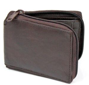 Men's Zipper Genuine Leather Zip-Around ID Bifold Wallet W/ Secure Coin Pocket