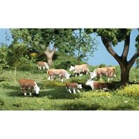 Painted Hereford Cows (OO/HO figures x 11) Woodland Scenics A1843 - free post F2