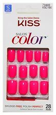KISS* 28 Nails SALON COLOR Glue/Press-On HOT PINK Short Square #69121/#71511 2/9