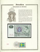 Sweden 10 Kronor 1980 P 52e UNC w/FDI UN FLAG STAMP Prefix BA