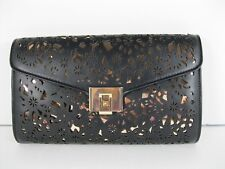 INC $89 NWT Black Faux Leather Chain Clutch Evening Party Bag Gold Underlay   X