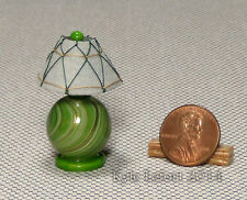 Handmade Artisan Dollhouse Miniature Green and Gold Orb Table Lamp - 1:12 Scale