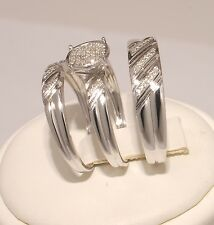 Diamond & White Gold finished trio bridal ring wedding engegement set men&women