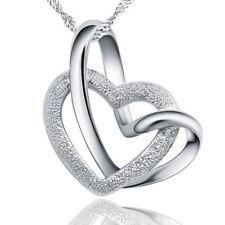 925 Sterling Silber Herz Anhänger mit Kette Halskette Herzkette Silberschmuck