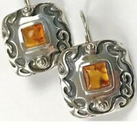 Silpada Sterling Silver Earrings W0911 Amber Etched Square Locking Wires Scroll