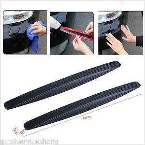2x 41cm Carbon Fiber Front&Rear Bumper Protector Corner Guard Scratch Sticker