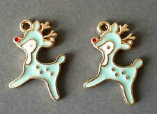 5 Or 10PCs 20mm Gold Plated Enamel Autumn Charms C2865-2 Blue Leaf Charms