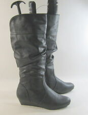 "New  Black 1.5""Wedge Heel Sexy KNEE Boot    US WOMEN Size 5.5"
