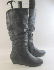 Negro 3.8cm Tacón Cuña Baja Imitación de piel Sexy Media Caña Botas Número 6.5