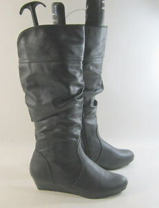 """New  Black 1.5""""Wedge Heel Sexy KNEE Boot    US WOMEN Size  10"""