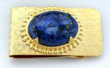 Natural 25x18 Oval Lapis Cab Gold Color Money Clip 1 4/5 Inch x 1 Inch pmc3